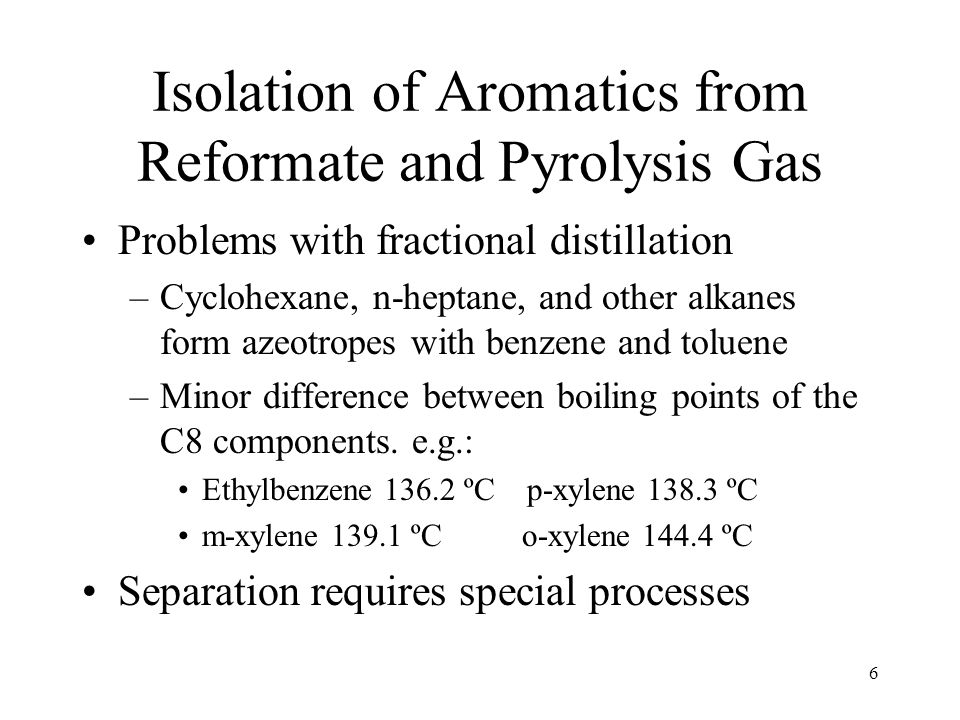 6 Isolation of Aromatics from Reformate and Pyrolysis Gas Problems with fractional distillation –Cyclohexane, n-heptane, and other alkanes form azeotropes with benzene and toluene –Minor difference between boiling points of the C8 components.