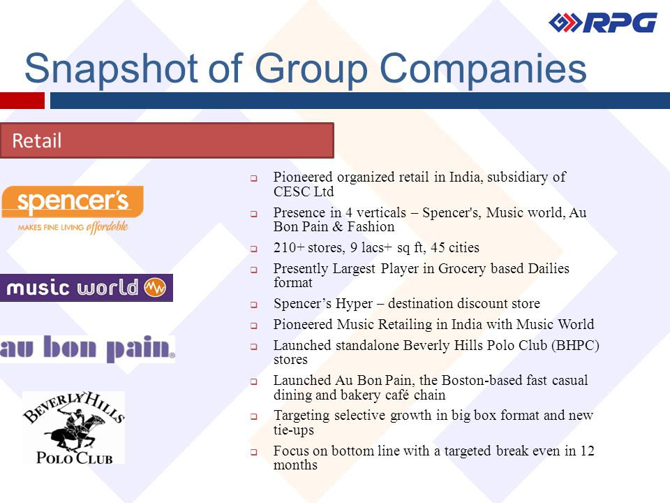 Snapshot of Group Companies Retail  Pioneered organized retail in India, subsidiary of CESC Ltd  Presence in 4 verticals – Spencer's, Music world, A