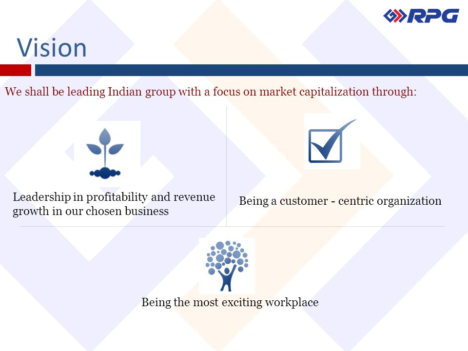 Vision We shall be leading Indian group with a focus on market capitalization through: Leadership in profitability and revenue growth in our chosen bu