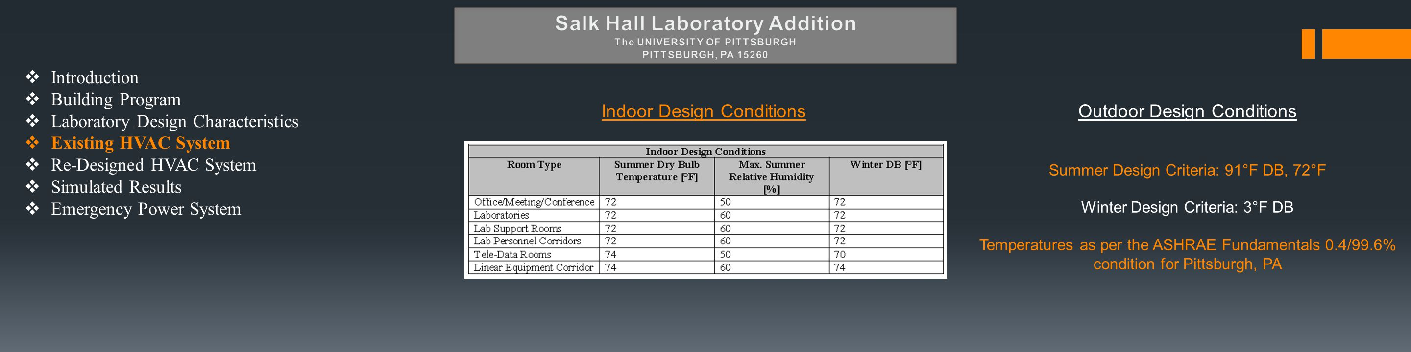  Introduction  Building Program  Laboratory Design Characteristics  Existing HVAC System  Re-Designed HVAC System  Simulated Results  Emergency Power System Indoor Design ConditionsOutdoor Design Conditions Summer Design Criteria: 91°F DB, 72°F Winter Design Criteria: 3°F DB Temperatures as per the ASHRAE Fundamentals 0.4/99.6% condition for Pittsburgh, PA