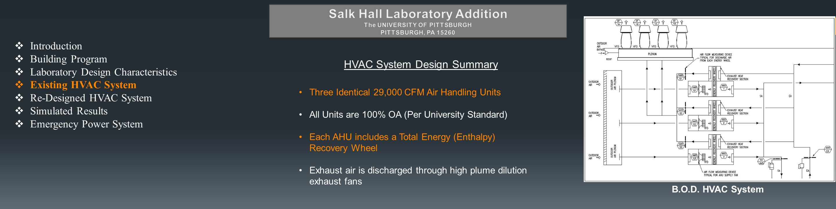  Introduction  Building Program  Laboratory Design Characteristics  Existing HVAC System  Re-Designed HVAC System  Simulated Results  Emergency Power System HVAC System Design Summary Three Identical 29,000 CFM Air Handling Units All Units are 100% OA (Per University Standard) Each AHU includes a Total Energy (Enthalpy) Recovery Wheel Exhaust air is discharged through high plume dilution exhaust fans B.O.D.