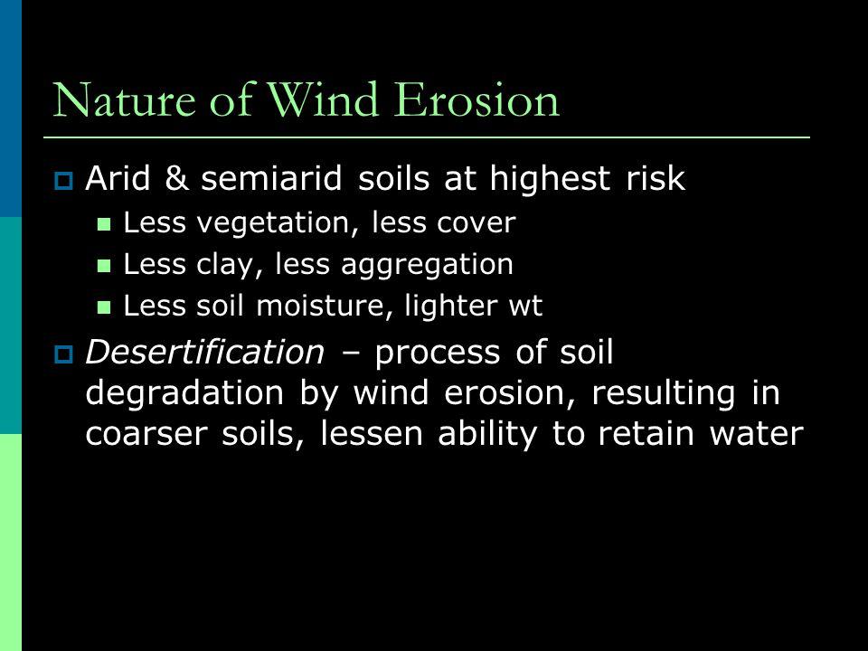 Nature of Wind Erosion  Arid & semiarid soils at highest risk Less vegetation, less cover Less clay, less aggregation Less soil moisture, lighter wt