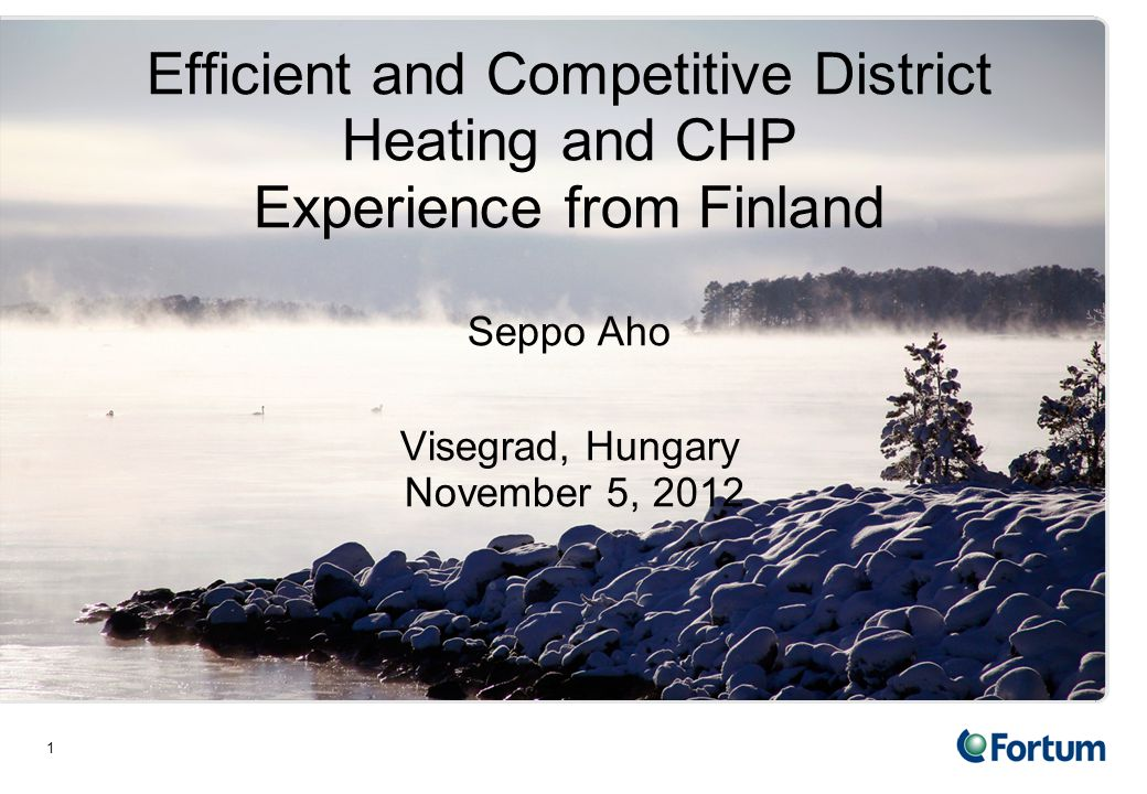 1 Efficient and Competitive District Heating and CHP Experience from Finland Seppo Aho Visegrad, Hungary November 5, 2012
