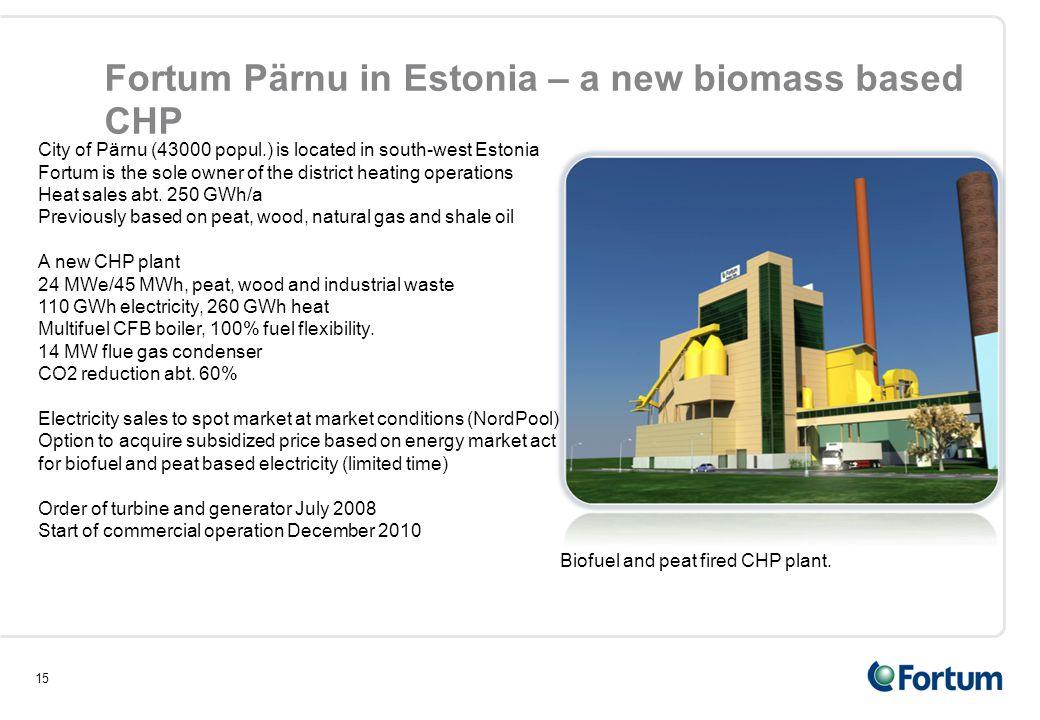 15 Fortum Pärnu in Estonia – a new biomass based CHP Biofuel and peat fired CHP plant. City of Pärnu (43000 popul.) is located in south-west Estonia F