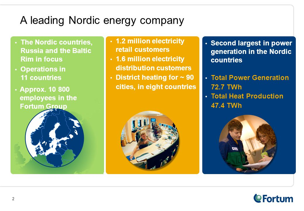 2 A leading Nordic energy company The Nordic countries, Russia and the Baltic Rim in focus Operations in 11 countries Second largest in power generation in the Nordic countries Total Power Generation 72.7 TWh Total Heat Production 47.4 TWh Approx.