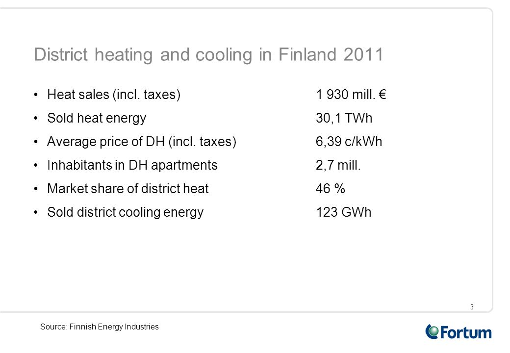3 District heating and cooling in Finland 2011 Heat sales (incl. taxes)1 930 mill. € Sold heat energy30,1 TWh Average price of DH (incl. taxes)6,39 c/