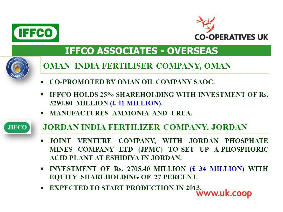 IFFCO ASSOCIATES - OVERSEAS OMAN INDIA FERTILISER COMPANY, OMAN JORDAN INDIA FERTILIZER COMPANY, JORDAN  CO-PROMOTED BY OMAN OIL COMPANY SAOC.  IFFC