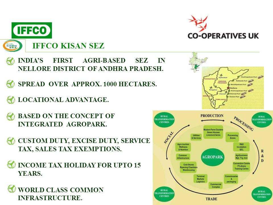 INDIA'S FIRST AGRI-BASED SEZ IN NELLORE DISTRICT OF ANDHRA PRADESH. SPREAD OVER APPROX. 1000 HECTARES. LOCATIONAL ADVANTAGE. BASED ON THE CONCEPT OF I