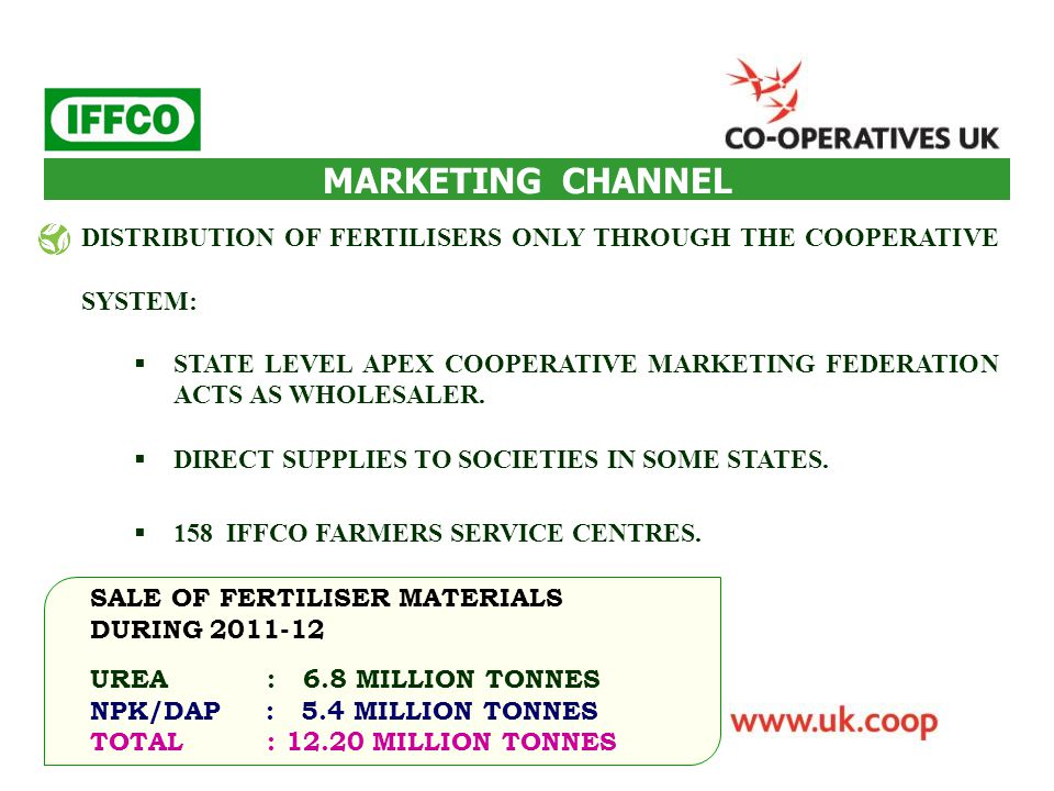 DISTRIBUTION OF FERTILISERS ONLY THROUGH THE COOPERATIVE SYSTEM:  STATE LEVEL APEX COOPERATIVE MARKETING FEDERATION ACTS AS WHOLESALER.  DIRECT SUPP