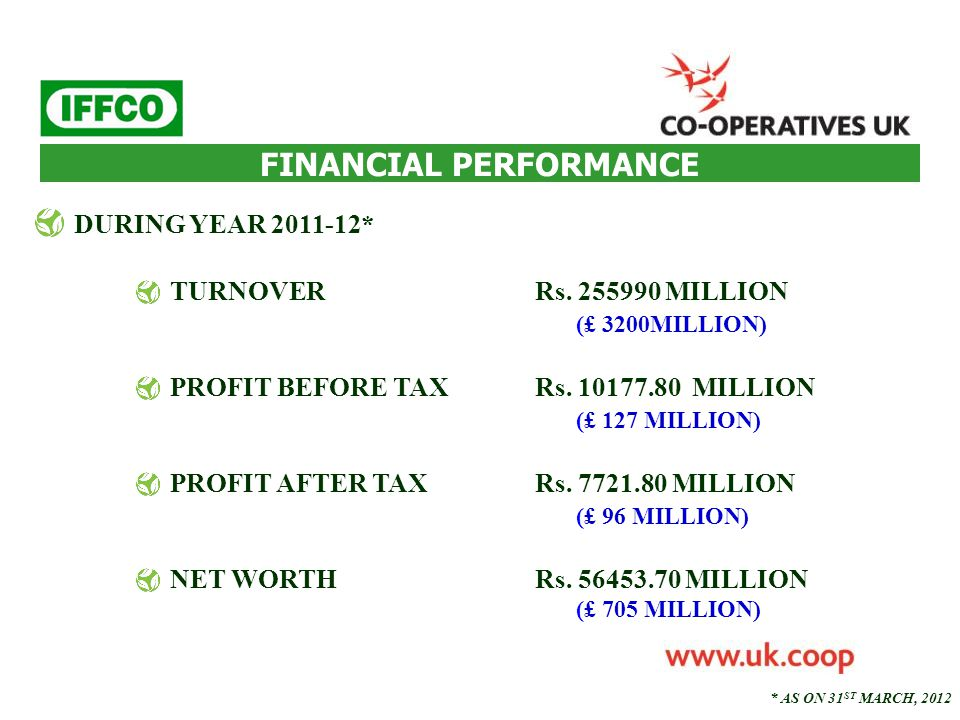 FINANCIAL PERFORMANCE DURING YEAR 2011-12* TURNOVERRs. 255990 MILLION (£ 3200MILLION) PROFIT BEFORE TAXRs. 10177.80 MILLION (£ 127 MILLION) PROFIT AFT