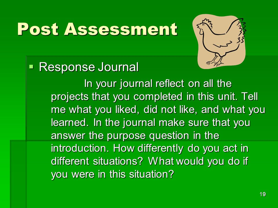 19 Post Assessment  Response Journal In your journal reflect on all the projects that you completed in this unit.