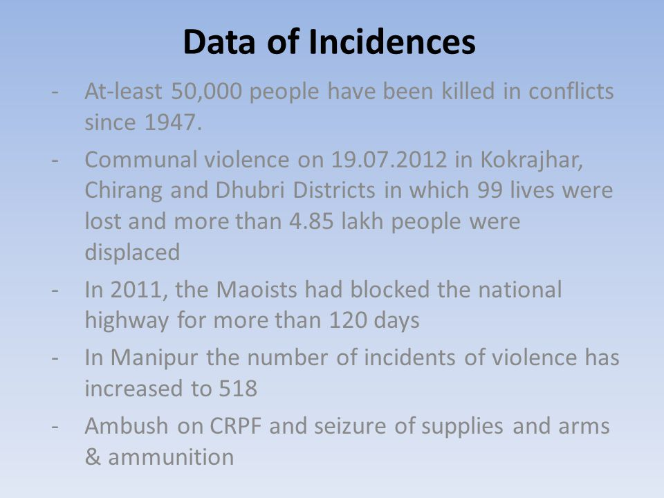Data of Incidences -At-least 50,000 people have been killed in conflicts since 1947. -Communal violence on 19.07.2012 in Kokrajhar, Chirang and Dhubri