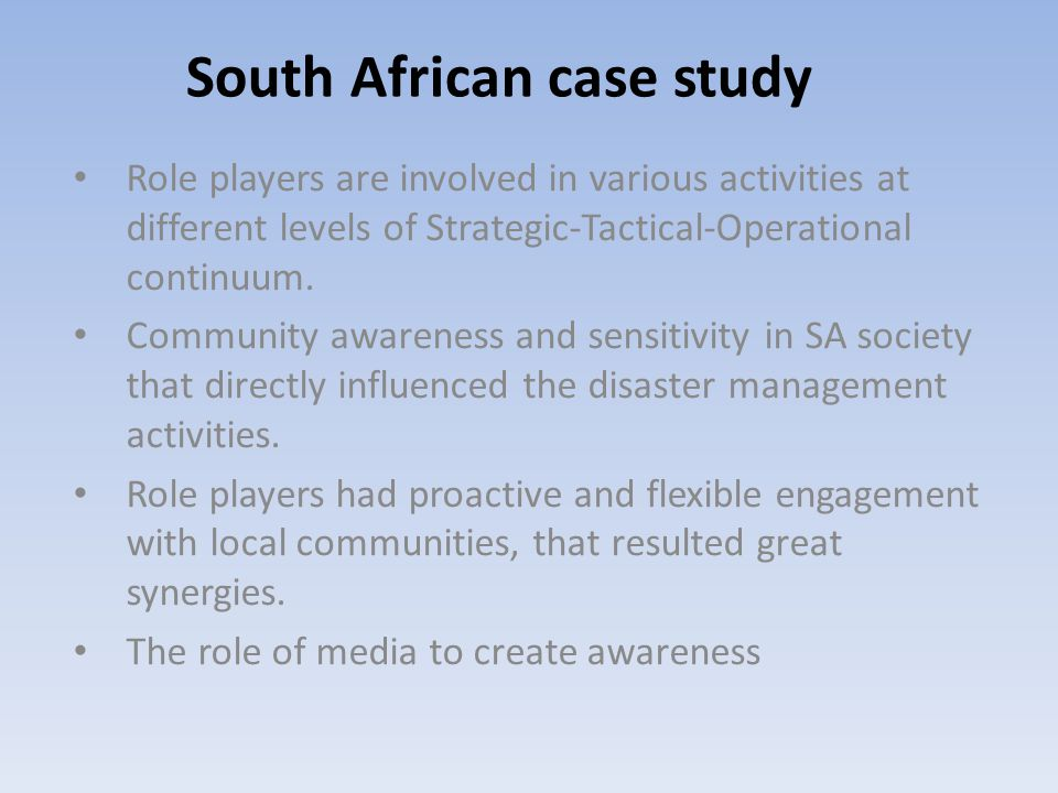 Role players are involved in various activities at different levels of Strategic-Tactical-Operational continuum.