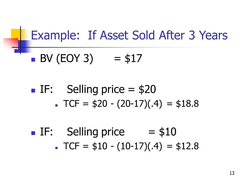 13 BV (EOY 3) = $17 IF: Selling price= $20 TCF = $20 - (20-17)(.4) = $18.8 IF: Selling price = $10 TCF = $10 - (10-17)(.4) = $12.8 Example: If Asset S