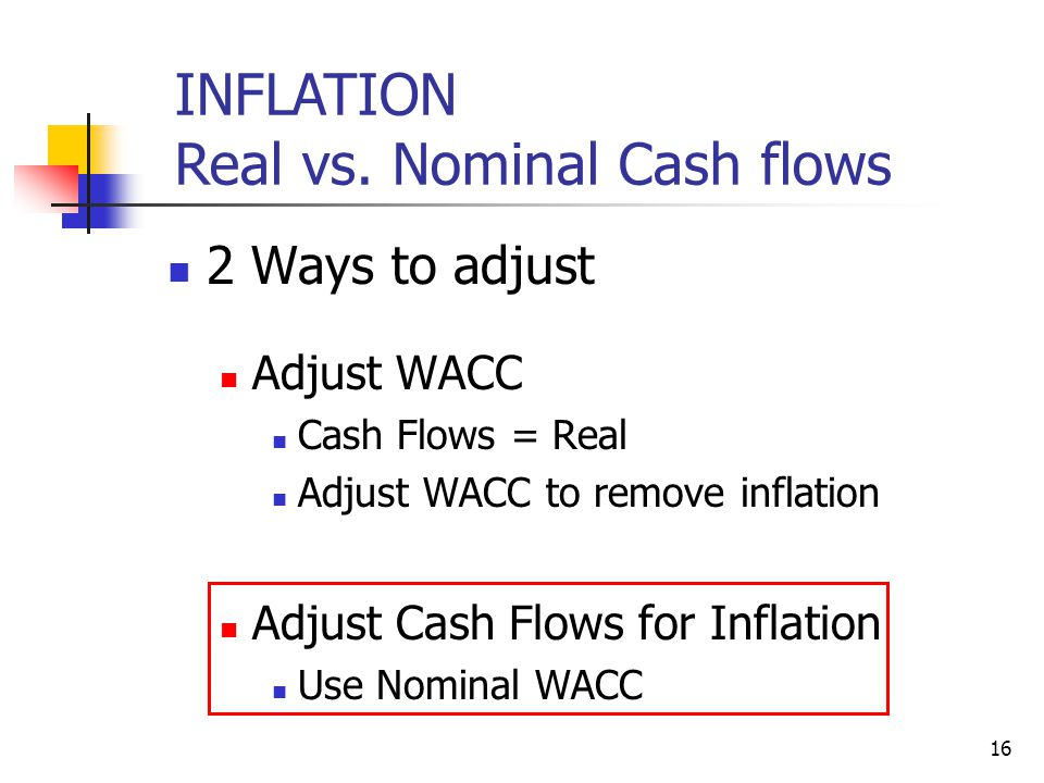 16 INFLATION Real vs. Nominal Cash flows 2 Ways to adjust Adjust WACC Cash Flows = Real Adjust WACC to remove inflation Adjust Cash Flows for Inflatio