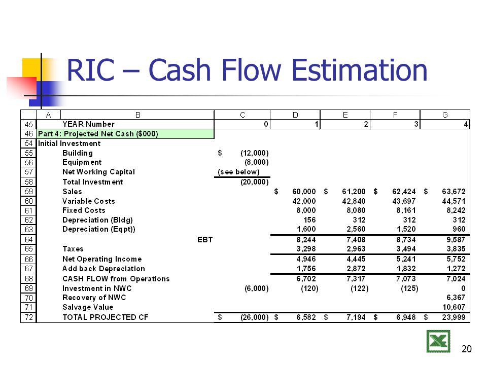 20 RIC – Cash Flow Estimation