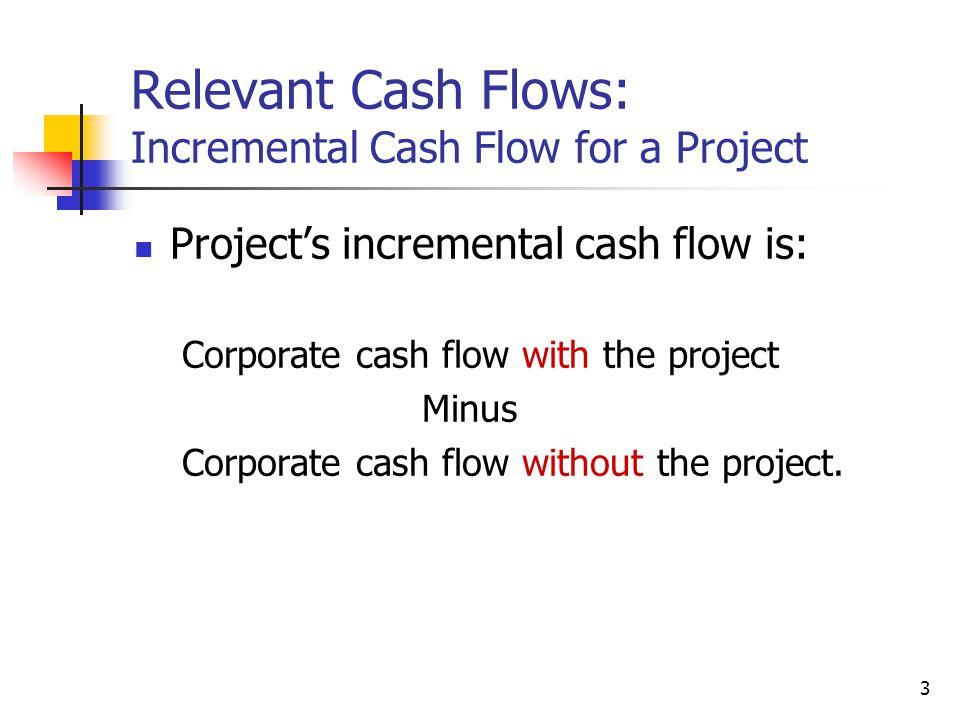 3 Relevant Cash Flows: Incremental Cash Flow for a Project Project's incremental cash flow is: Corporate cash flow with the project Minus Corporate ca