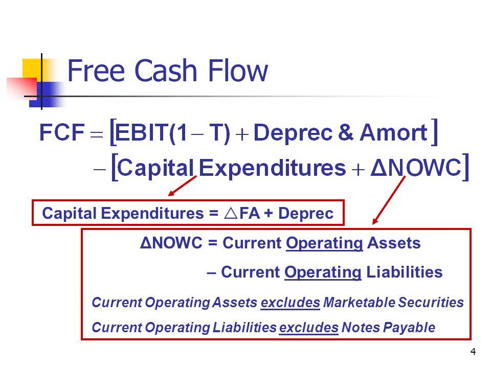 4 Free Cash Flow Capital Expenditures =  FA + Deprec ΔNOWC = Current Operating Assets – Current Operating Liabilities Current Operating Assets exclud