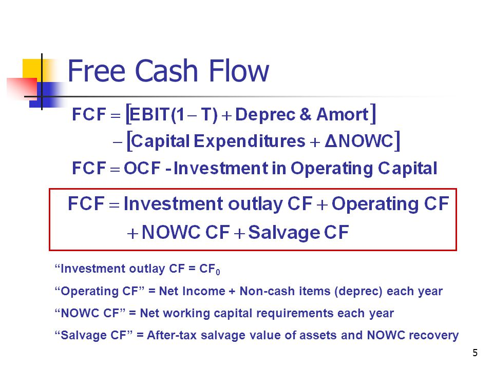 """5 Free Cash Flow """"Investment outlay CF = CF 0 """"Operating CF"""" = Net Income + Non-cash items (deprec) each year """"NOWC CF"""" = Net working capital requirem"""
