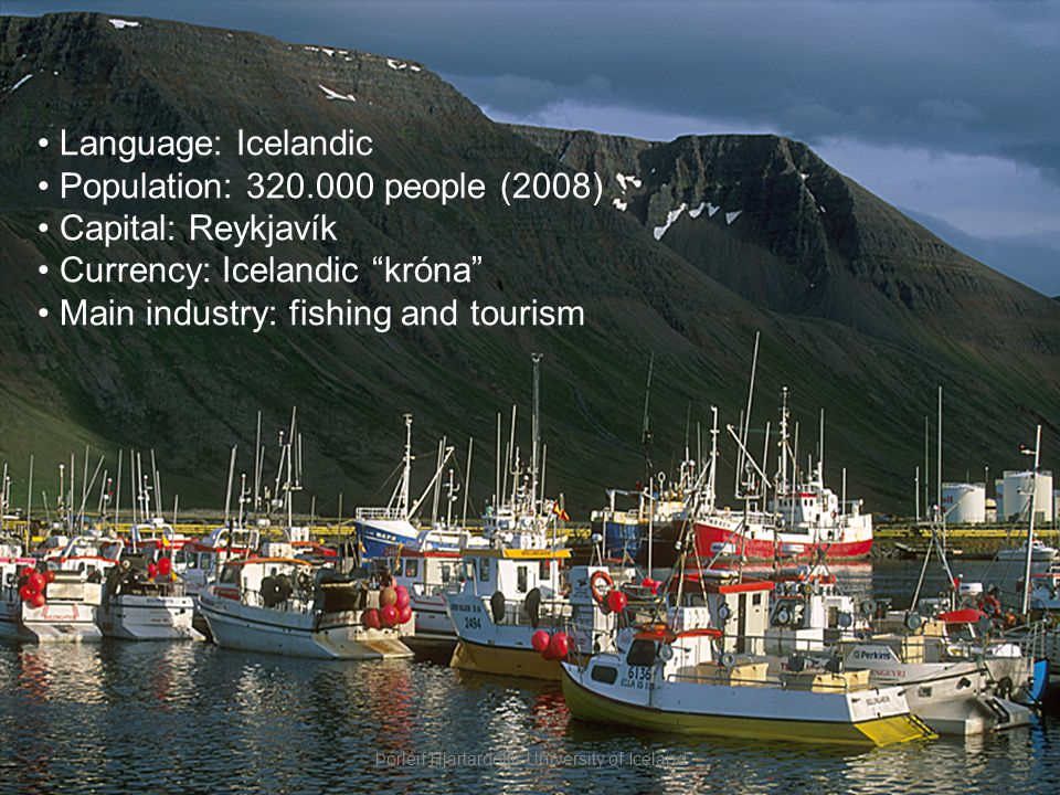 Language: Icelandic Population: 320.000 people (2008) Capital: Reykjavík Currency: Icelandic króna Main industry: fishing and tourism Þórleif Hjartardóttir University of Iceland