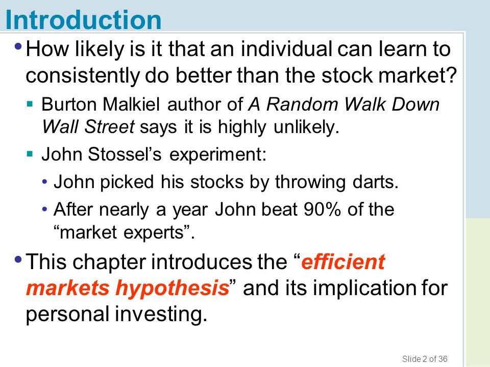 Slide 13 of 36 How to Really Pick Stocks, Seriously 1.Diversify–choose a large number of stocks.