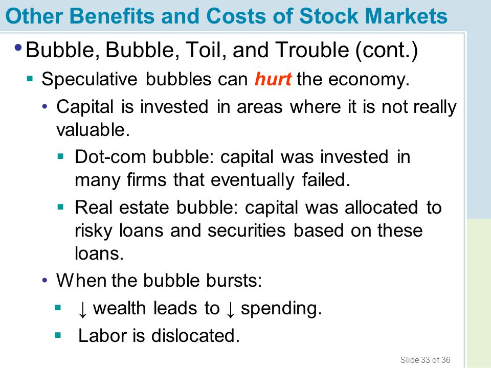 Slide 33 of 36 Other Benefits and Costs of Stock Markets Bubble, Bubble, Toil, and Trouble (cont.)  Speculative bubbles can hurt the economy. Capital