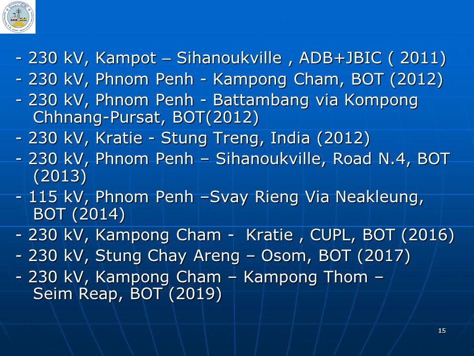 15 - 230 kV, Kampot – Sihanoukville, ADB+JBIC ( 2011) - 230 kV, Phnom Penh - Kampong Cham, BOT (2012) - 230 kV, Phnom Penh - Battambang via Kompong Ch