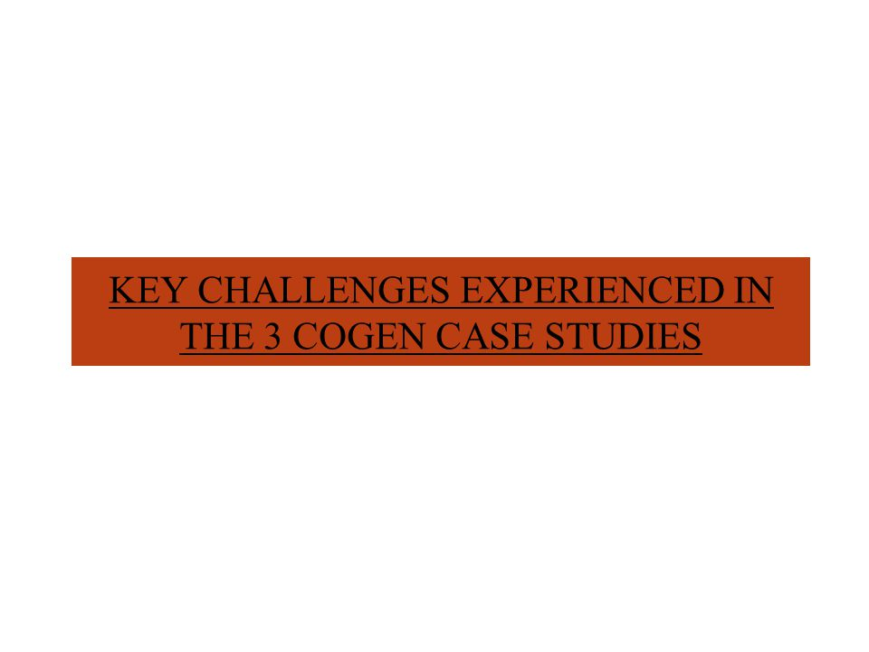 KEY CHALLENGES EXPERIENCED IN THE 3 COGEN CASE STUDIES