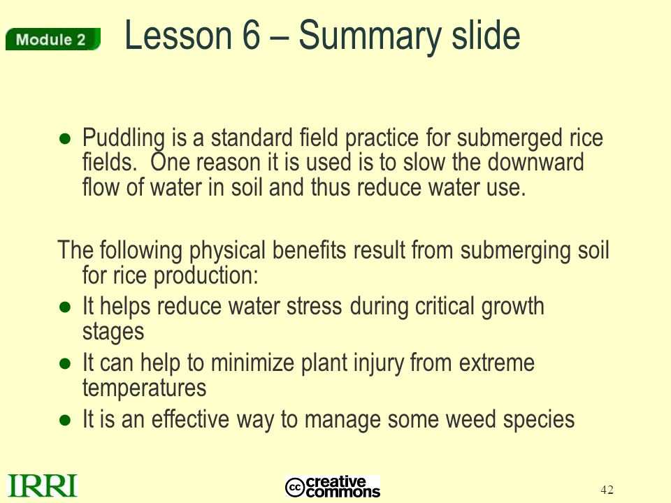 42 ●Puddling is a standard field practice for submerged rice fields. One reason it is used is to slow the downward flow of water in soil and thus redu