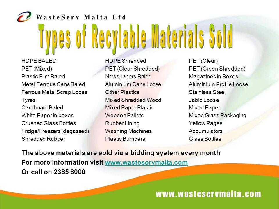 HDPE BALEDHDPE ShreddedPET (Clear) PET (Mixed)PET (Clear Shredded)PET (Green Shredded) Plastic Film BaledNewspapers BaledMagazines in Boxes Metal Ferr