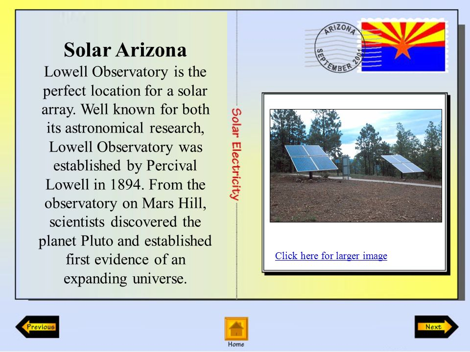 Solar Arizona Lowell Observatory is the perfect location for a solar array.