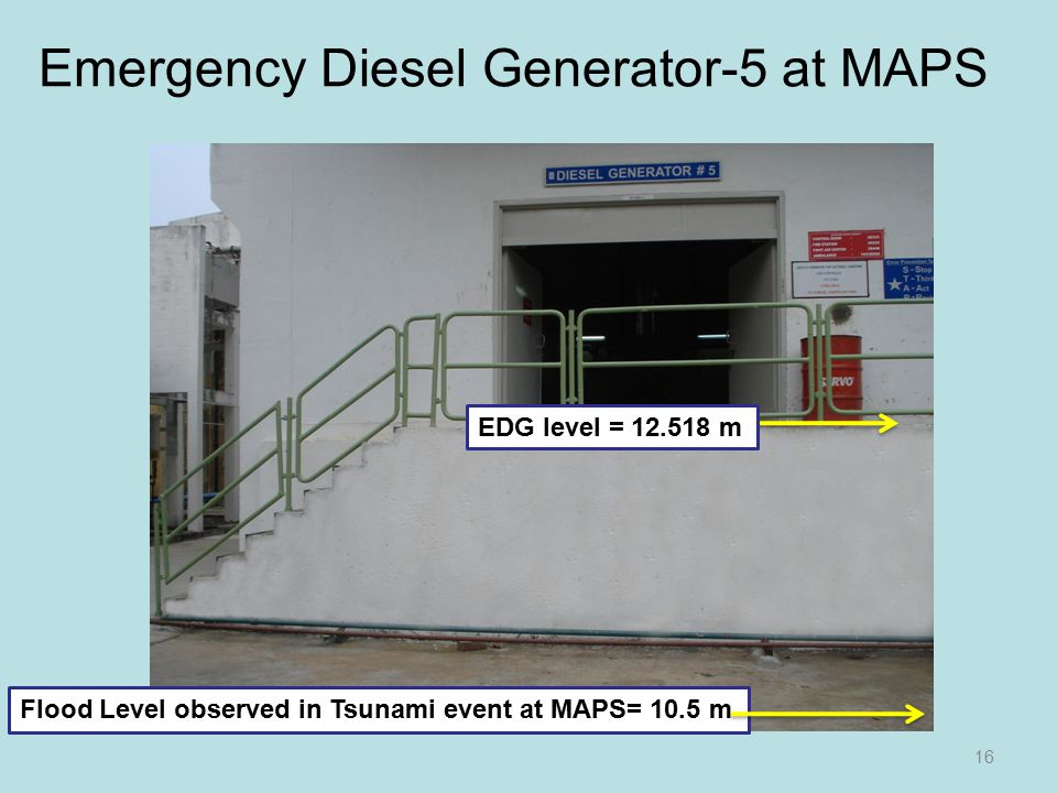 Emergency Diesel Generator-5 at MAPS 16 Flood Level observed in Tsunami event at MAPS= 10.5 m EDG level = 12.518 m