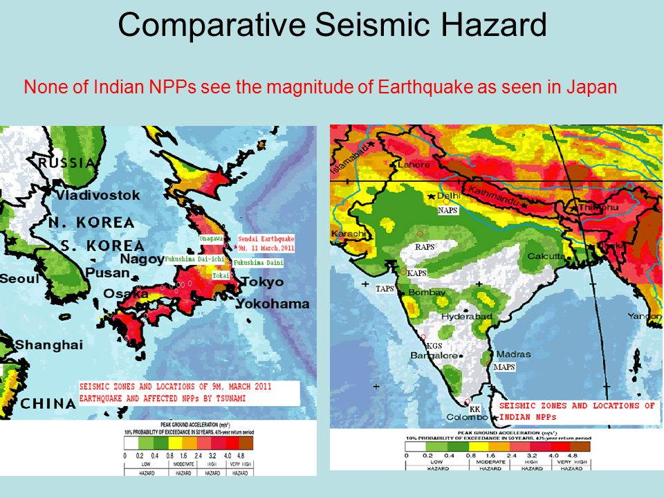 Comparative Seismic Hazard None of Indian NPPs see the magnitude of Earthquake as seen in Japan