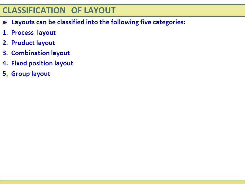 CLASSIFICATION OF LAYOUT  Layouts can be classified into the following five categories: 1. Process layout 2. Product layout 3. Combination layout 4.