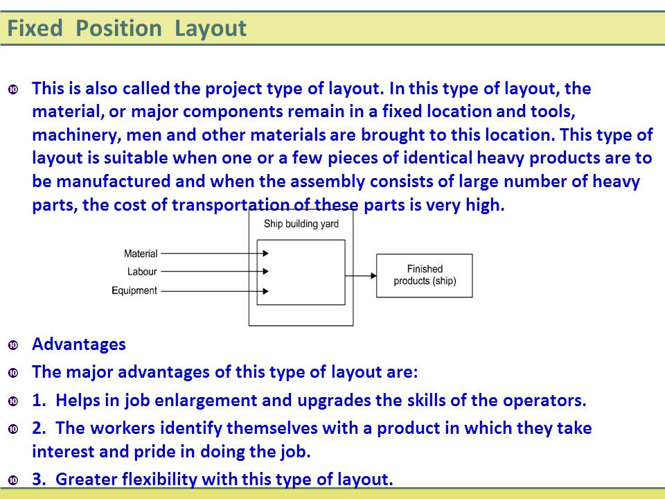 Fixed Position Layout  This is also called the project type of layout. In this type of layout, the material, or major components remain in a fixed lo