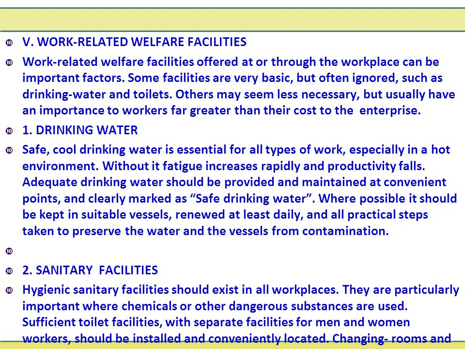  V. WORK-RELATED WELFARE FACILITIES  Work-related welfare facilities offered at or through the workplace can be important factors. Some facilities a
