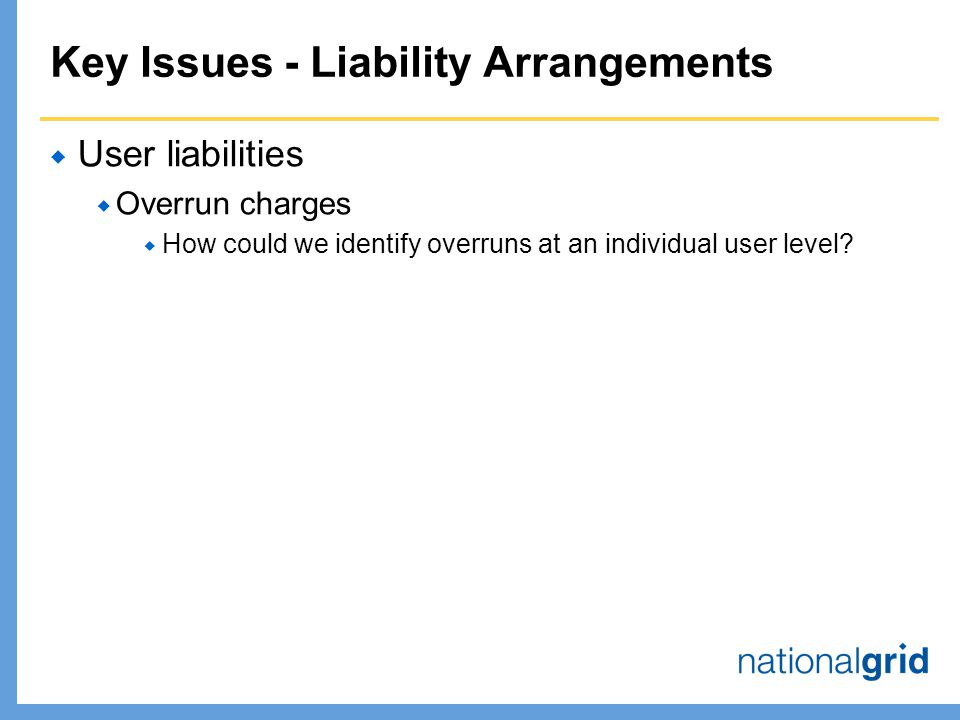 Key Issues - Liability Arrangements  User liabilities  Overrun charges  How could we identify overruns at an individual user level