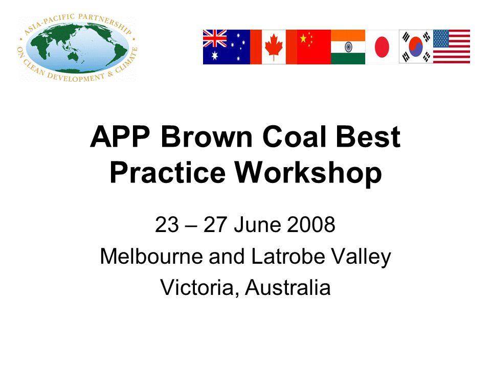 APP Brown Coal Best Practice Workshop 23 – 27 June 2008 Melbourne and Latrobe Valley Victoria, Australia