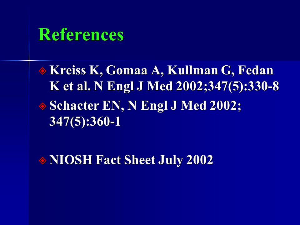 References  Kreiss K, Gomaa A, Kullman G, Fedan K et al. N Engl J Med 2002;347(5):330-8  Schacter EN, N Engl J Med 2002; 347(5):360-1  NIOSH Fact S