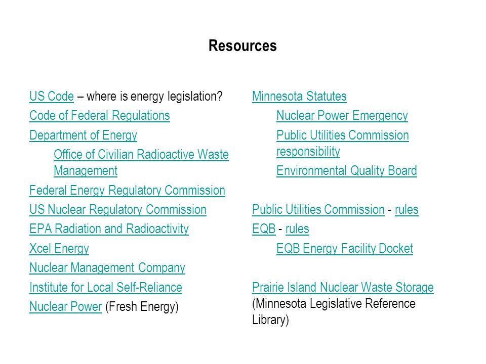 Resources US CodeUS Code – where is energy legislation.