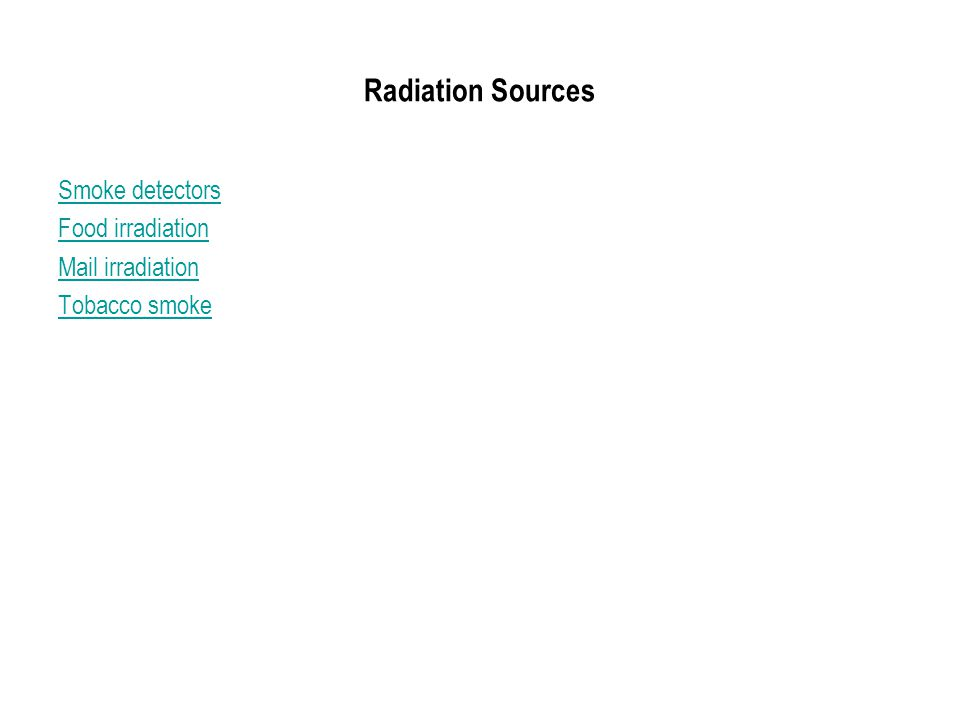 Radiation Sources Smoke detectors Food irradiation Mail irradiation Tobacco smoke
