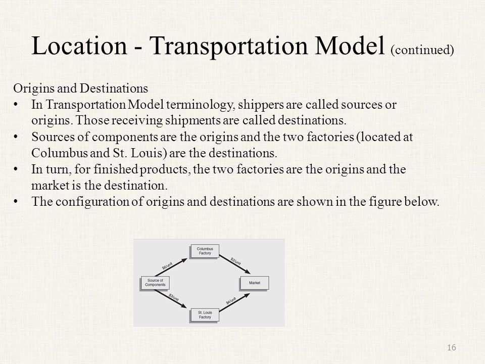 Location - Transportation Model (continued) 16 Origins and Destinations In Transportation Model terminology, shippers are called sources or origins. T
