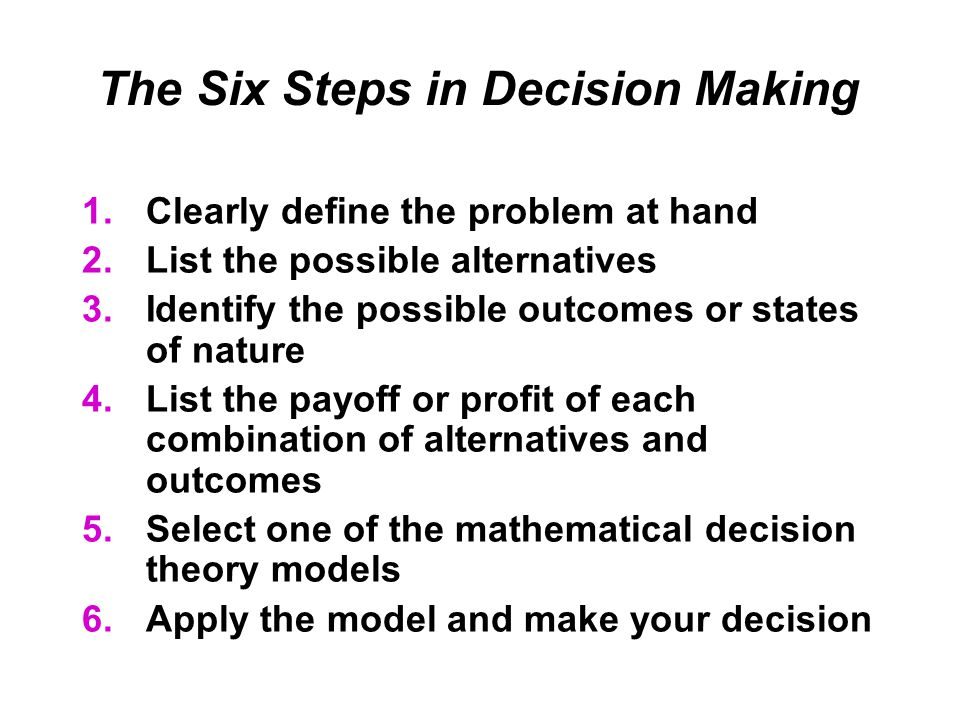 The Six Steps in Decision Making 1.Clearly define the problem at hand 2.List the possible alternatives 3.Identify the possible outcomes or states of nature 4.List the payoff or profit of each combination of alternatives and outcomes 5.Select one of the mathematical decision theory models 6.Apply the model and make your decision