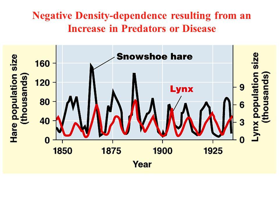 Negative Density-dependence resulting from an Increase in Predators or Disease