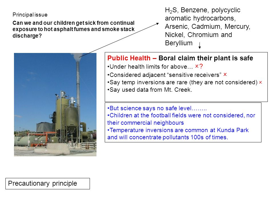 H 2 S, Benzene, polycyclic aromatic hydrocarbons, Arsenic, Cadmium, Mercury, Nickel, Chromium and Beryllium Public Health – Boral claim their plant is safe Under health limits for above…  .