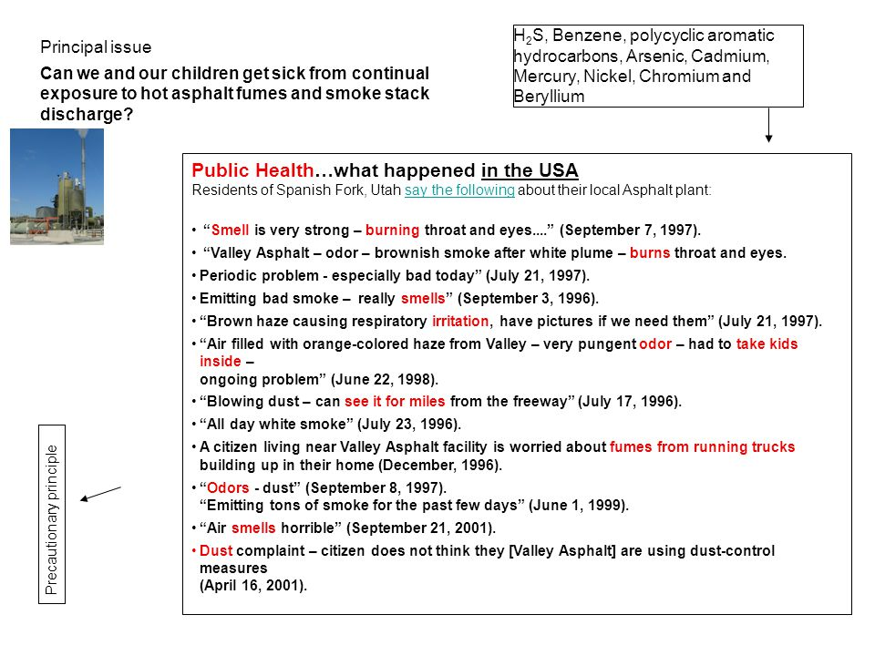 H 2 S, Benzene, polycyclic aromatic hydrocarbons, Arsenic, Cadmium, Mercury, Nickel, Chromium and Beryllium Public Health…what happened in the USA Residents of Spanish Fork, Utah say the following about their local Asphalt plant:say the following Smell is very strong – burning throat and eyes.... (September 7, 1997).