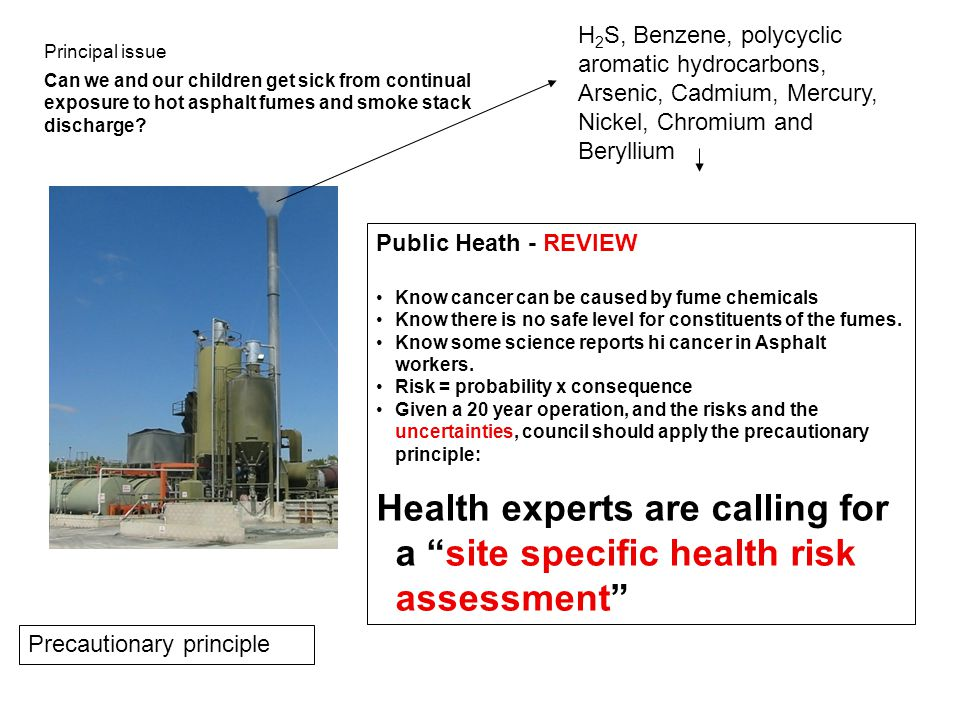 H 2 S, Benzene, polycyclic aromatic hydrocarbons, Arsenic, Cadmium, Mercury, Nickel, Chromium and Beryllium Public Heath - REVIEW Know cancer can be caused by fume chemicals Know there is no safe level for constituents of the fumes.