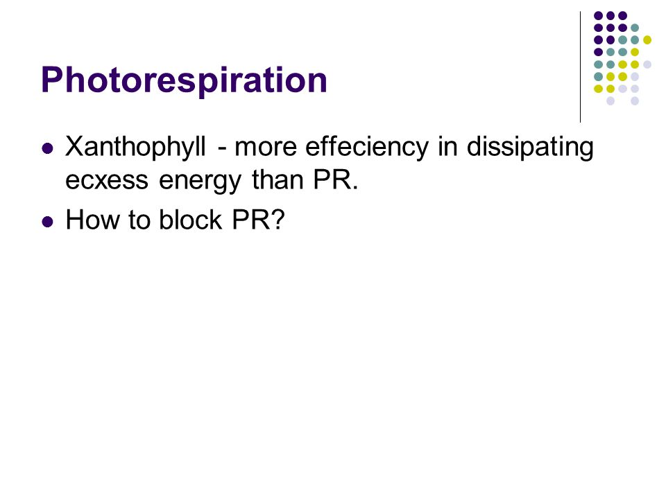 Photorespiration Xanthophyll - more effeciency in dissipating ecxess energy than PR.