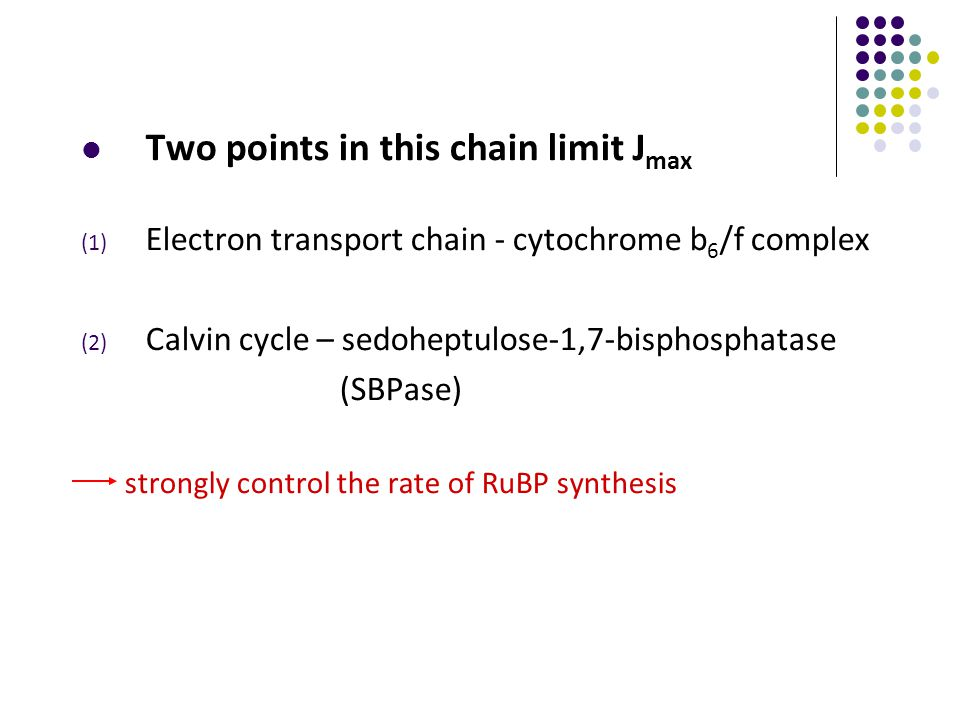 Two points in this chain limit J max (1) Electron transport chain - cytochrome b 6 /f complex (2) Calvin cycle – sedoheptulose-1,7-bisphosphatase (SBPase) strongly control the rate of RuBP synthesis
