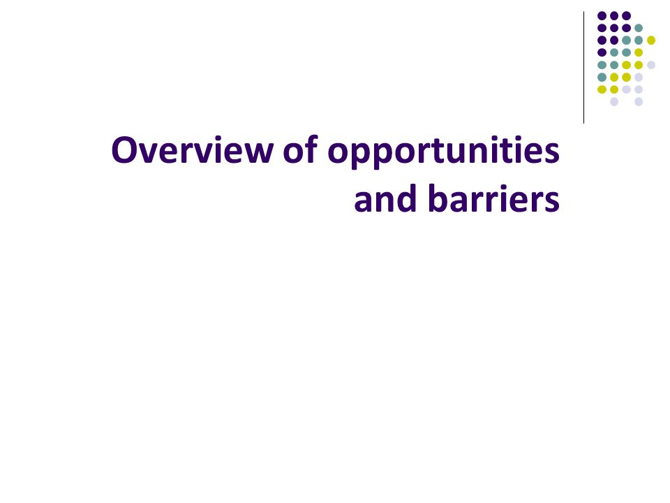 Overview of opportunities and barriers